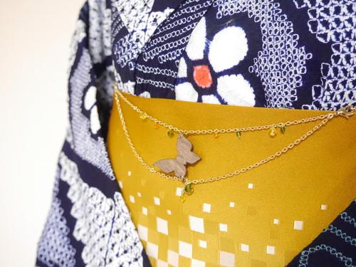 蝶の帯飾り(羽織紐)【蒼色×橙色×菜の花色】2WAY