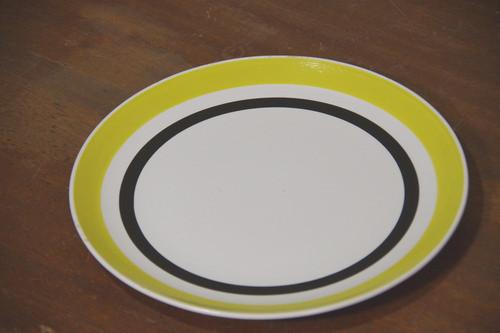 レトロポップ!黄色 ライン 大皿 プレート 27センチ イエロー 昭和レトロ 古道具
