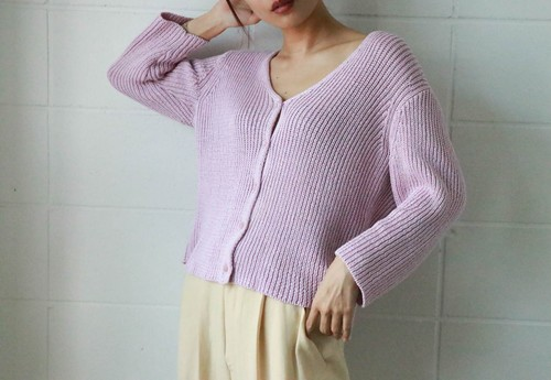 Pink cotton knit cardigan