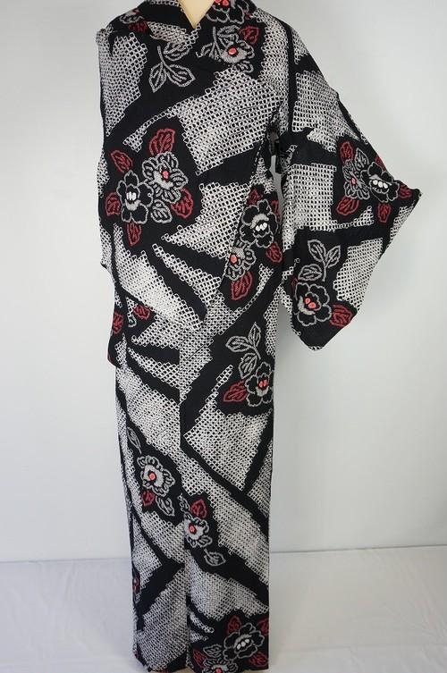 有松絞り【浴衣】トールサイズ 椿 綿 総絞り 黒 白 赤 019