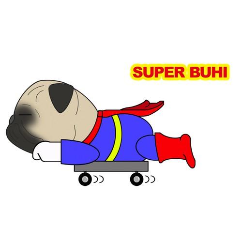 Superwanステッカー【パグ】 犬 ステッカー シール