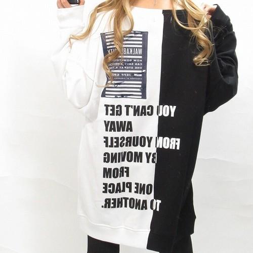 ドッキング ストリート パッチ刺繍 バックロゴ トレーナー オーバーサイズ 白×黒