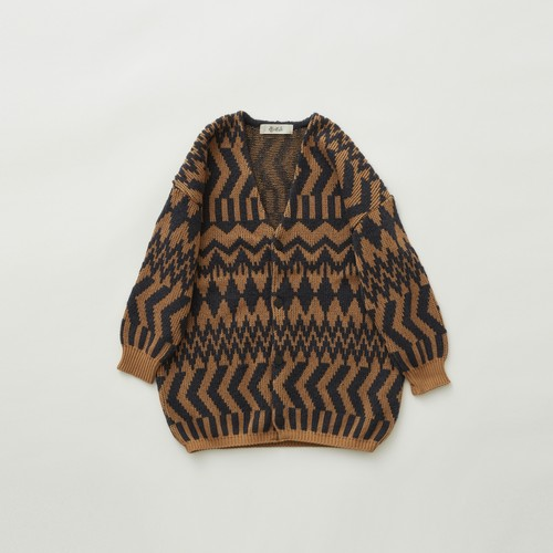 《eLfinFolk 2021AW》Folk jacquard  cardigan / camel × charcoal / 110・130cm