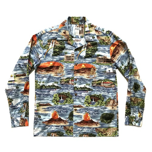 Mountain Men's 長袖オープンアロハシャツ / Islands