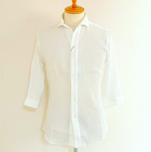 Stretch Crepe Italian Collar 7/S Shirts White