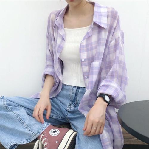 チェックロングシャツ A157