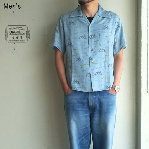 ORGUEIL 総柄オープンカラーシャツ Open Collared Shirt OR-5019 (BLUE)