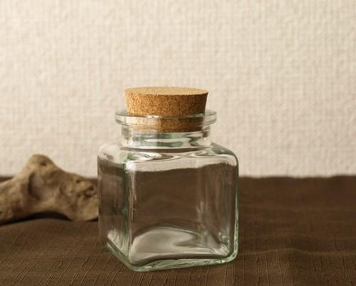 【ガラス容器】角瓶 コルク栓付