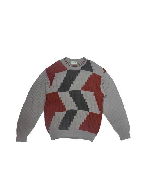 switching panel knit shirt