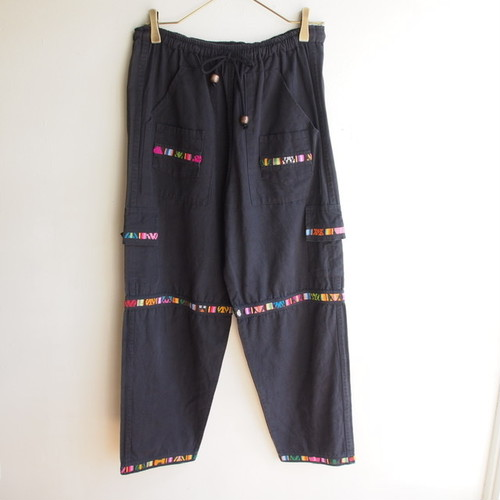 U.S.A. embroidery black pants