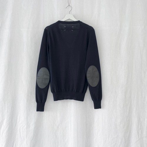 MAISON MARGIELA 14 elbow patched cotton cardigan navy×black leather
