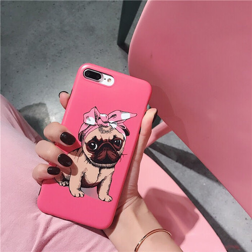 ピンクパグiPhoneケース ドットへアバンド