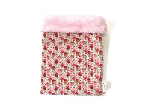 ハリネズミ用寝袋 M(冬用) コーデュロイ×ボアフリース 花柄
