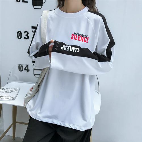 【トップス】カジュアル配色長袖切り替えラウンドネックTシャツ16387445