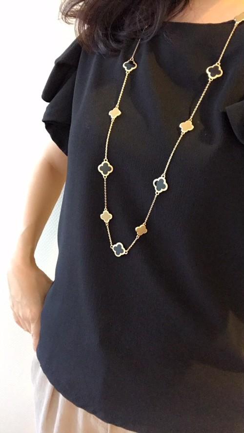 Flower Necklace / Black × Mocha / L size ネックレス