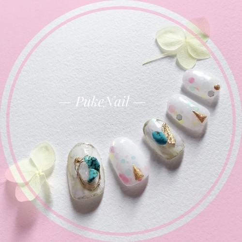 Pukeネイル [No.204] 天然石・パーティー、結婚式等 ♡・♡v♡ジェイルネイルチップ