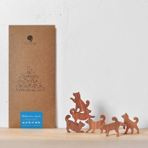 【COMMA】Shiba Inu Stack 地味にはまる!大人のつみき 柴犬スタック 色んなポーズの柴犬6ピース (ブルー/A73008)