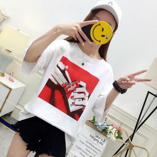 【トップス】定番シンプル中袖プリントコットンTシャツ