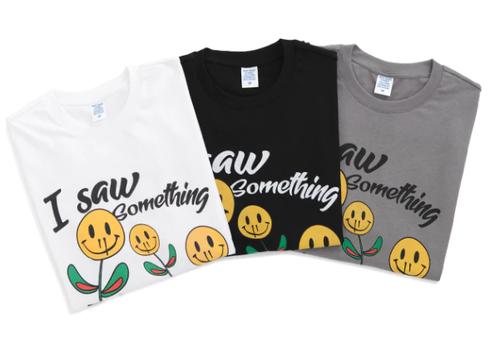 ★UNISEX スマイルフラワープリントペイントTシャツ 韓国ファッション
