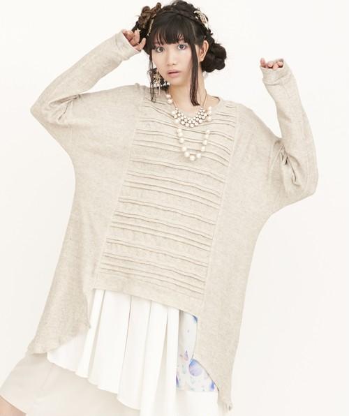guri / Tuck Knit Tunic /BEIGE