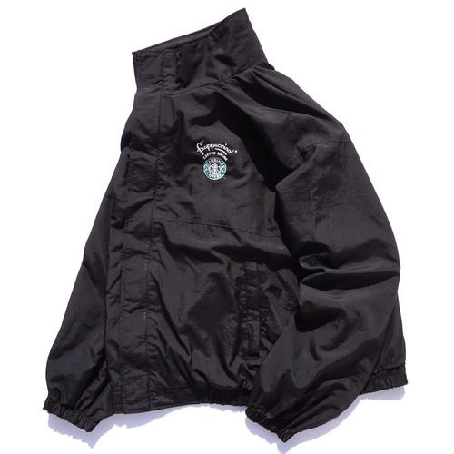 1990's〜2000's [STARBUCKS COFFEE] セイレーン&フラペチーノ ロゴ刺繍 ナイロンジャケット ブラック 表記(XXL) スターバックス スタバ