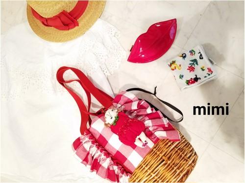 mimi☆フリフリ巾着☆赤ギンガムチェック