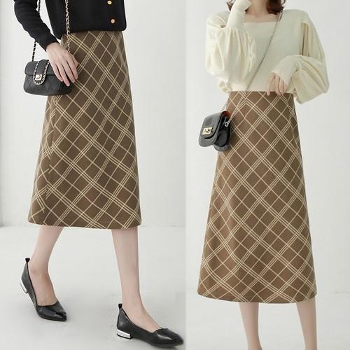 上品で知的フェミニン ロングスカート レトロ ミモレ丈 ハイウエスト チェック柄 Aライン 大きいサイズ レディース スカート