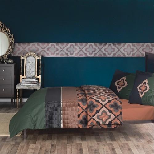 トルコ製 シングル ベッドカバー 3点セット KRONSS グリーン