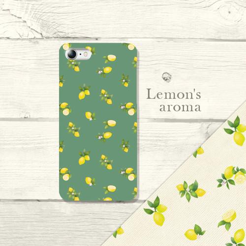"""水彩調 レモンパターン """" Lemon's aroma"""" グリーン スマホケース ハード iPhone/Android"""