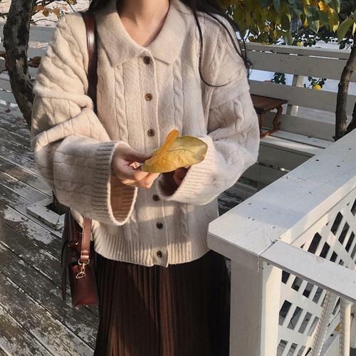 【送料無料】ナチュラル カーデ ♡ 大人可愛い カジュアル オーバーサイズ 襟付き ケーブル編み ニット カーディガン トップス