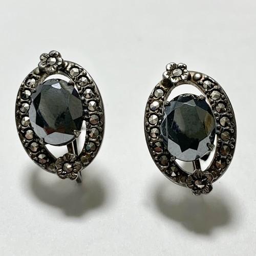 1920's 〜30's Antique Art Deco Sterling Hematite Marcasite Earrings