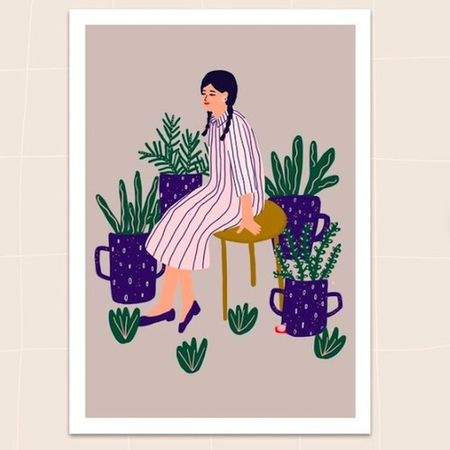 "Jennifer Bouron ""Sitting with the plants"" A5 print"