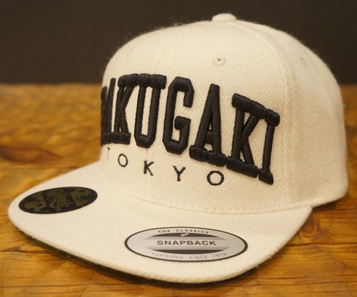 RAKUGAKI Melton Wool College Logo SnapBack Cap Natural x Black