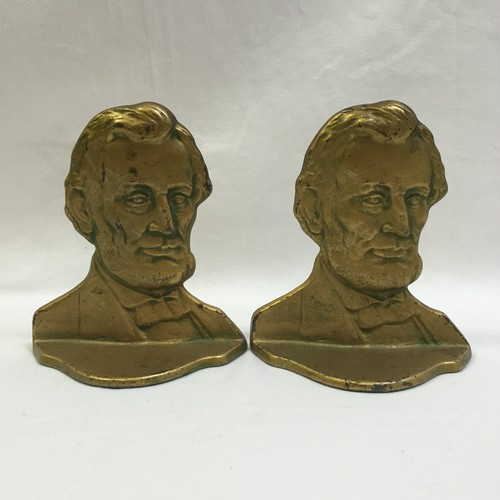 Antique LINCOLN Brass Bookends