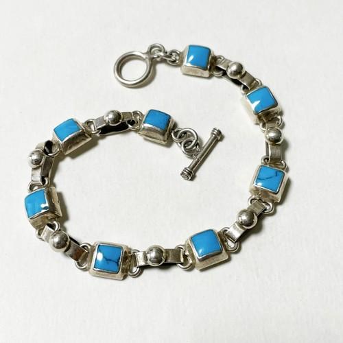 Vintage 925 Silver Turquois Enamel Link Bracelet Made In Mexico