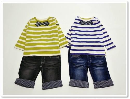 蝶ネクタイアップリケ長袖ボーダーTシャツ 双子ベビー服2枚セット ボーイズツイン<15aw-bt007r-H>