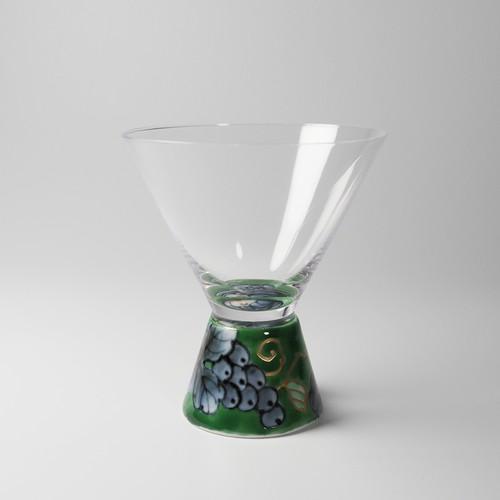 酒グラス(台形) 染錦グリーン 20-002-C