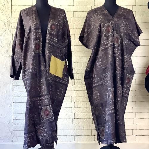 独特の個性的模様は唯一無二の一作 絹100%アンサンブル(コート&ワンピース) 20AS014