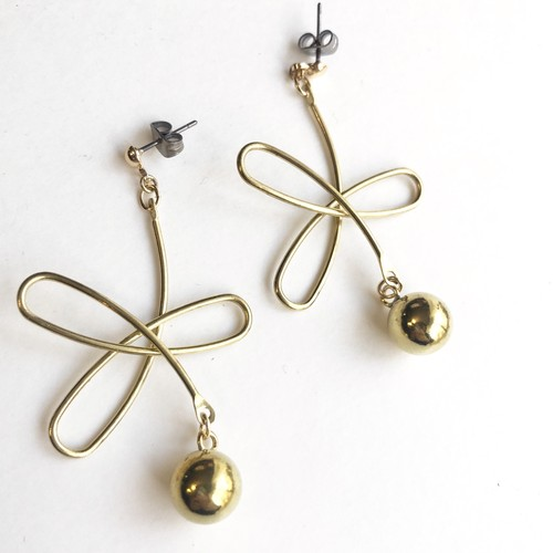 Wire flower earrings No.406