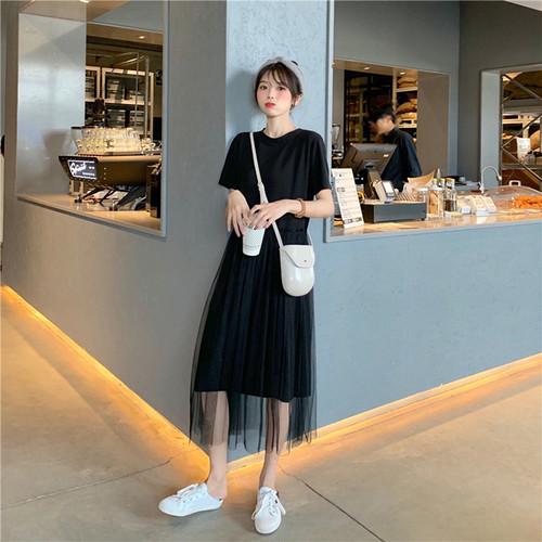 韓国ファッションチュール切り替えロング夏服ワンピース