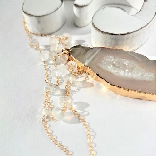 送料無料 14kgf*宝石質AAARainbow moonstone + Druzy agate necklace