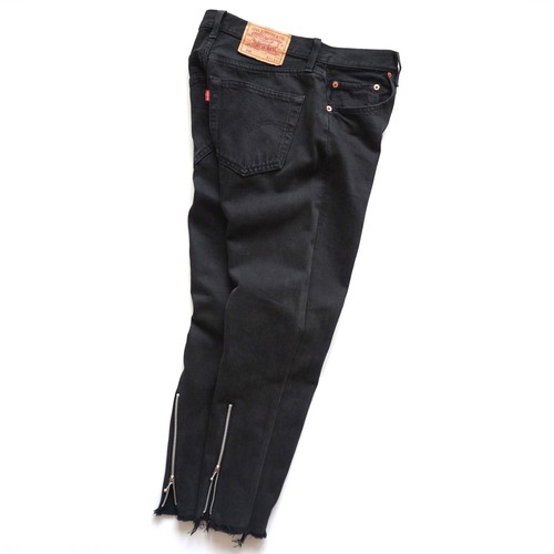"""ZIPPER BACK HEM JEANS"" Levi's 501 Black Over Dyed size:W31"