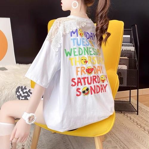 【tops】元気いっぱいTシャツレース切り替えプリント着心地よい3色
