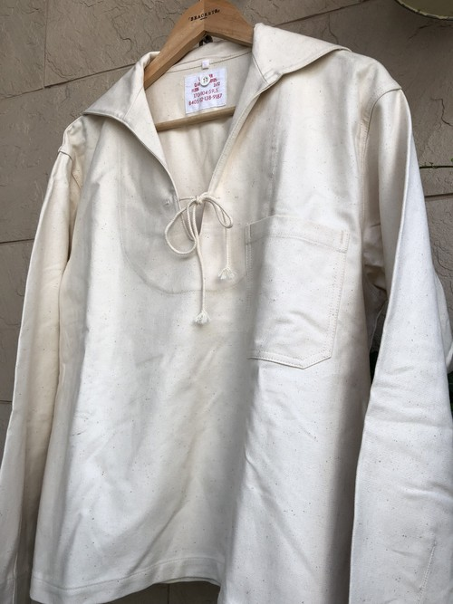 Deadstock German military white cotton sailer shirts