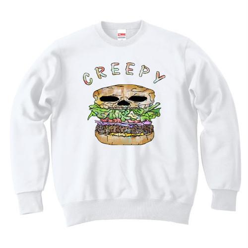 [カジュアルスウェット] Creepy hamburger / white