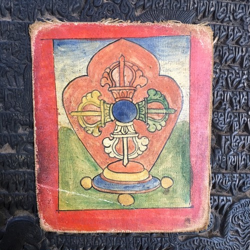 チベット仏教細密仏画ツァカリ 五色ダブルドルジェ