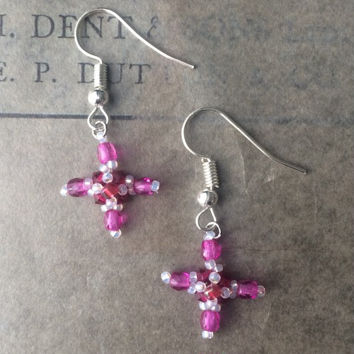 candy pink cross:piace,earring