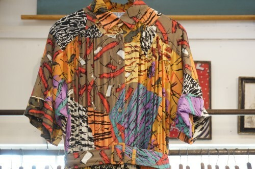 80's printed rayon belted shirt Dress