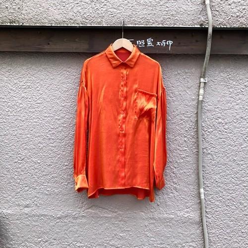 シャイニーサテンセットアップ ポケットシャツ カラー: Orange