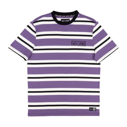 WELCOME Medius Stripe Yarn-Dyed Short Sleeve Knit - Purple